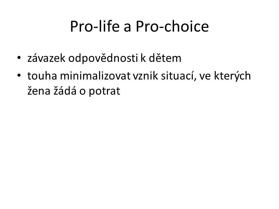 Pro-life a Pro-choice závazek odpovědnosti k dětem touha minimalizovat vznik situací, ve kterých žena žádá o potrat