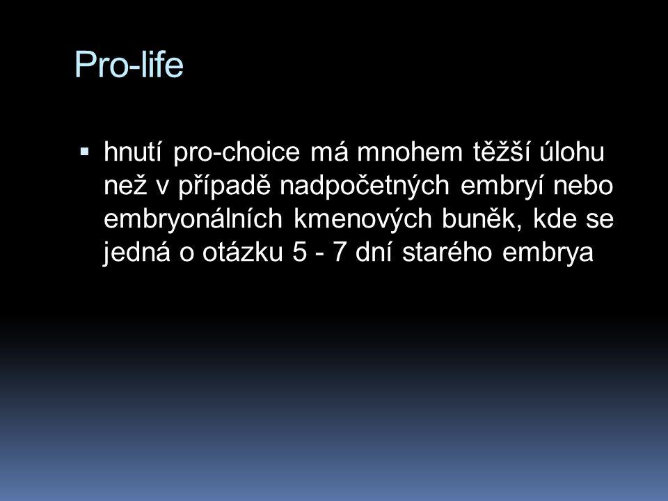 Pro-life  hnutí pro-choice má mnohem těžší úlohu než v případě nadpočetných embryí nebo embryonálních kmenových buněk, kde se jedná o otázku 5 - 7 dn