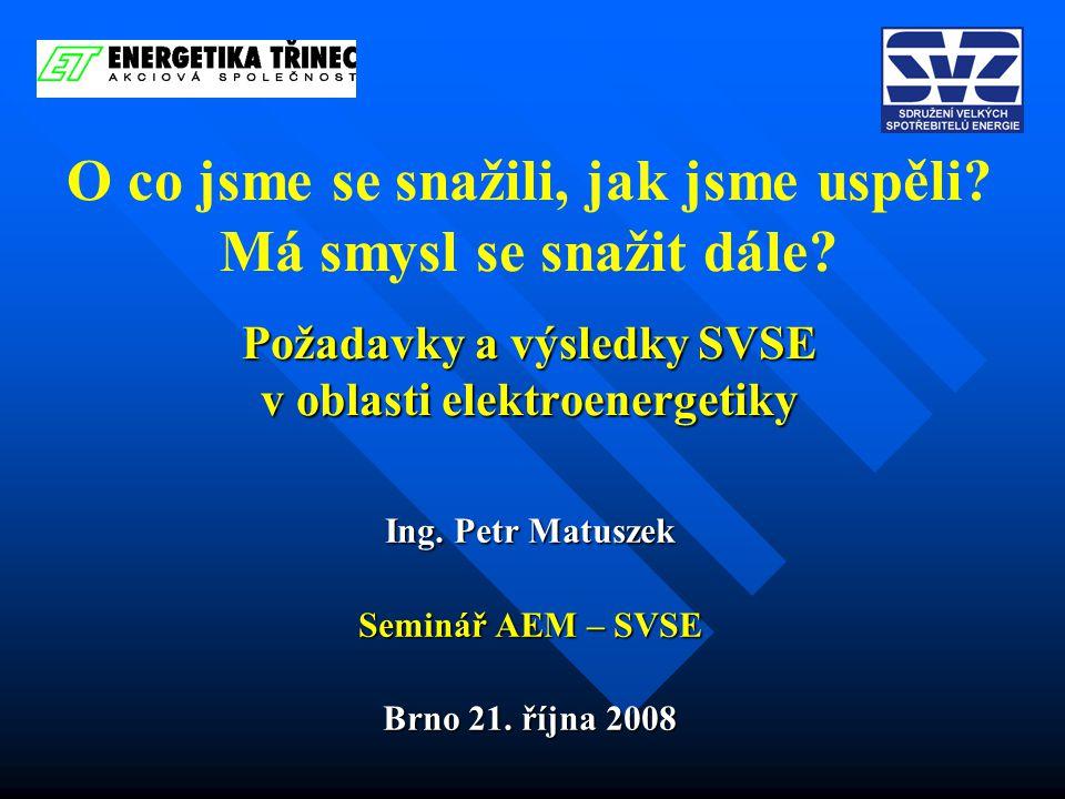Požadavky a výsledky SVSE v oblasti elektroenergetiky O co jsme se snažili, jak jsme uspěli.