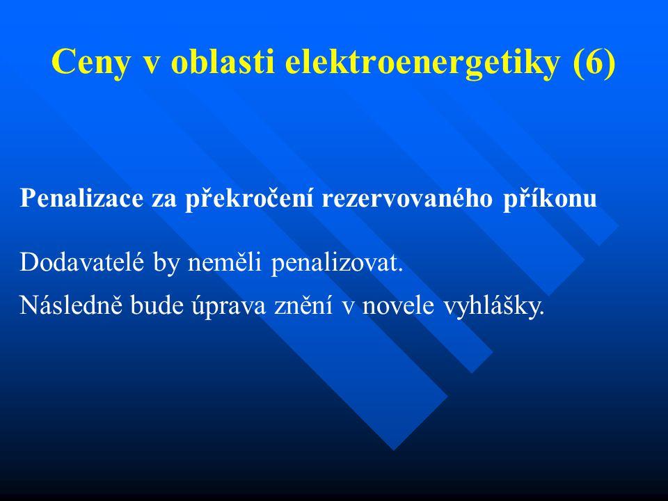 Ceny v oblasti elektroenergetiky (6) Penalizace za překročení rezervovaného příkonu Dodavatelé by neměli penalizovat.