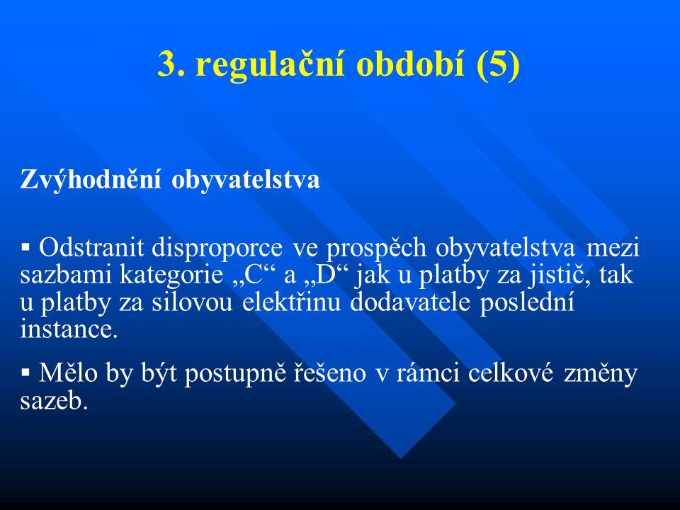 """3. regulační období (5) Zvýhodnění obyvatelstva  Odstranit disproporce ve prospěch obyvatelstva mezi sazbami kategorie """"C"""" a """"D"""" jak u platby za jist"""