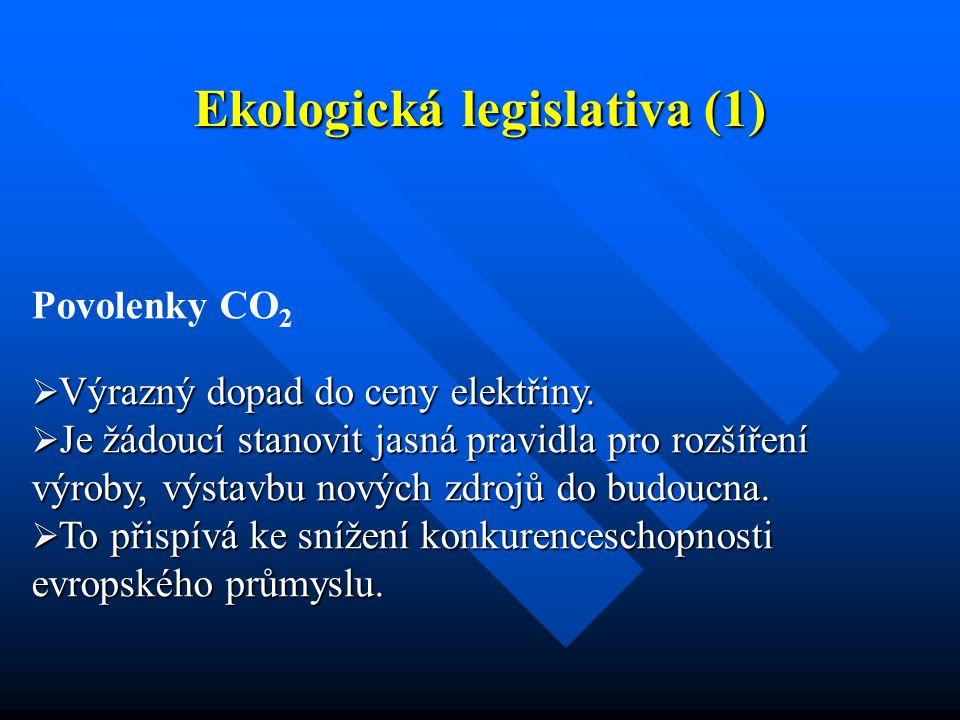 Ekologická legislativa (1) Povolenky CO 2  Výrazný dopad do ceny elektřiny.