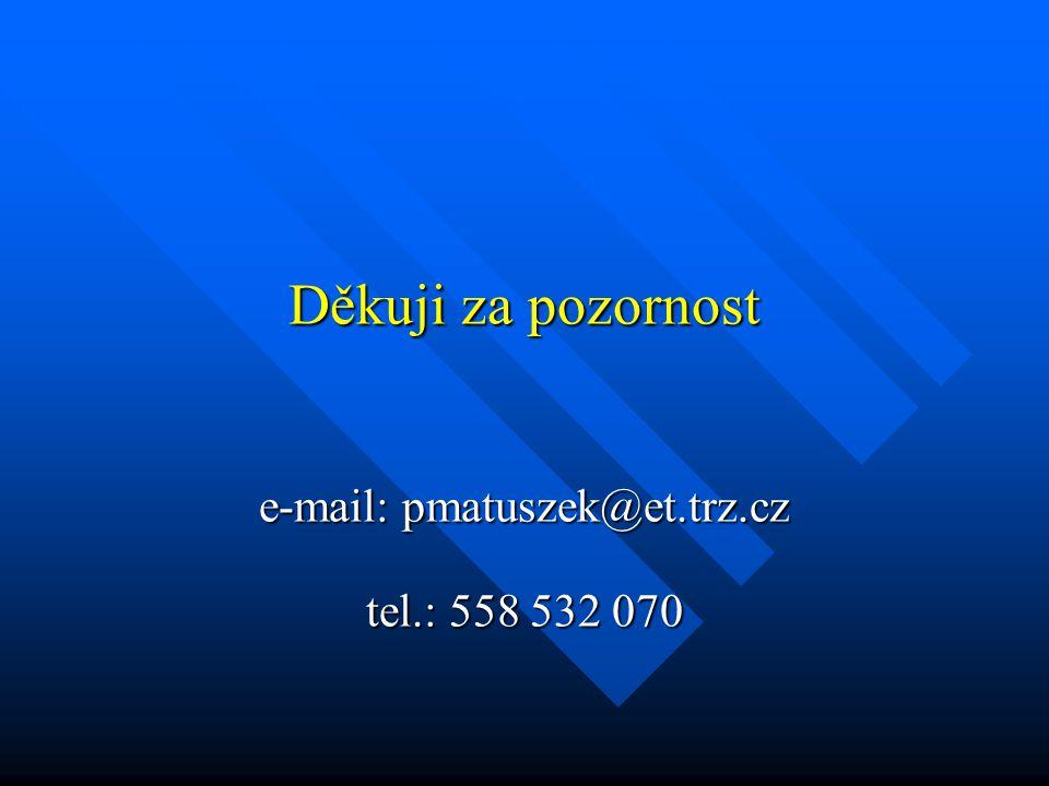 Děkuji za pozornost e-mail: pmatuszek@et.trz.cz tel.: 558 532 070