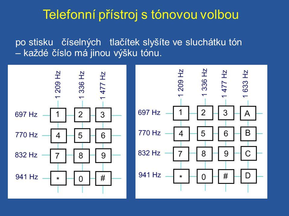 Telefonní přístroj s tónovou volbou po stisku číselných tlačítek slyšíte ve sluchátku tón – každé číslo má jinou výšku tónu.
