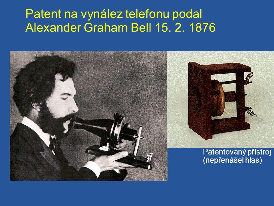 Patent na vynález telefonu podal Alexander Graham Bell 15. 2. 1876 Patentovaný přístroj (nepřenášel hlas)