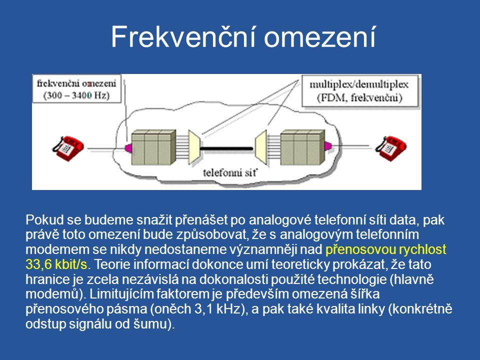 Frekvenční omezení Pokud se budeme snažit přenášet po analogové telefonní síti data, pak právě toto omezení bude způsobovat, že s analogovým telefonní