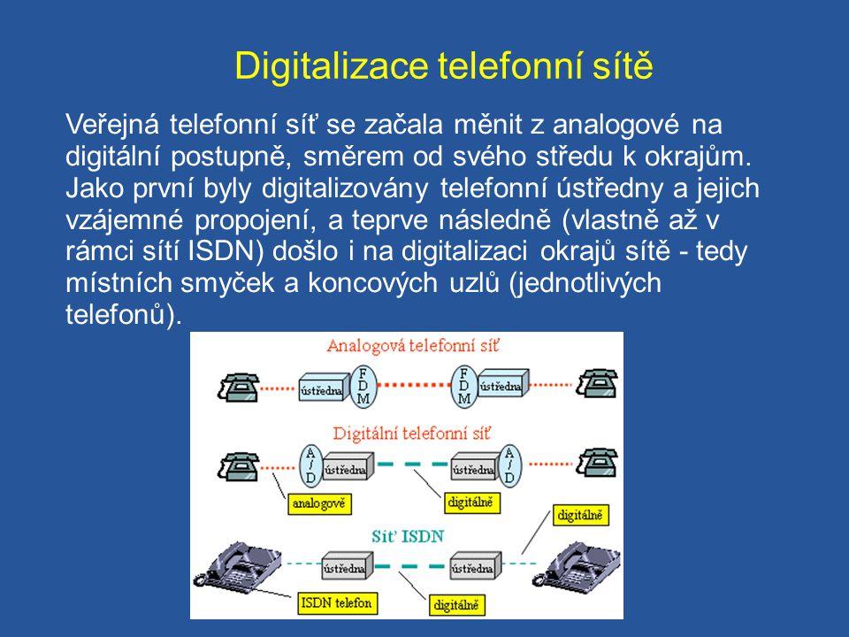Digitalizace telefonní sítě Veřejná telefonní síť se začala měnit z analogové na digitální postupně, směrem od svého středu k okrajům. Jako první byly