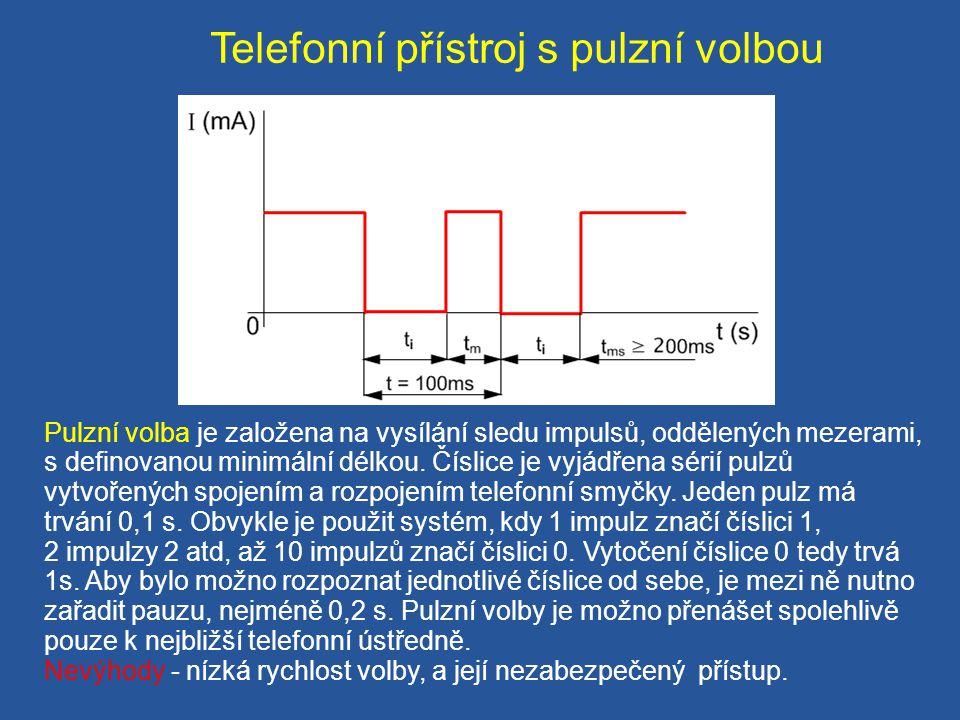 Telefonní přístroj s pulzní volbou Pulzní volba je založena na vysílání sledu impulsů, oddělených mezerami, s definovanou minimální délkou. Číslice je