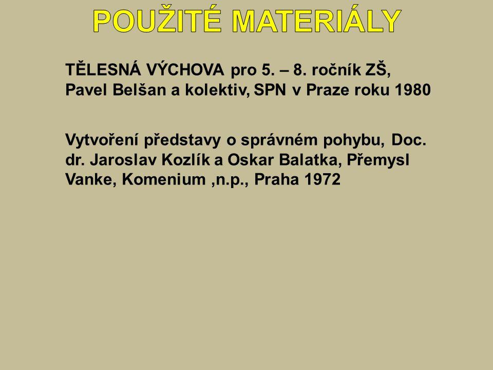 TĚLESNÁ VÝCHOVA pro 5. – 8. ročník ZŠ, Pavel Belšan a kolektiv, SPN v Praze roku 1980 Vytvoření představy o správném pohybu, Doc. dr. Jaroslav Kozlík