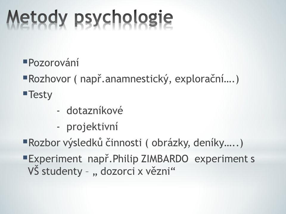  Pozorování  Rozhovor ( např.anamnestický, explorační….)  Testy - dotazníkové - projektivní  Rozbor výsledků činnosti ( obrázky, deníky…..)  Expe