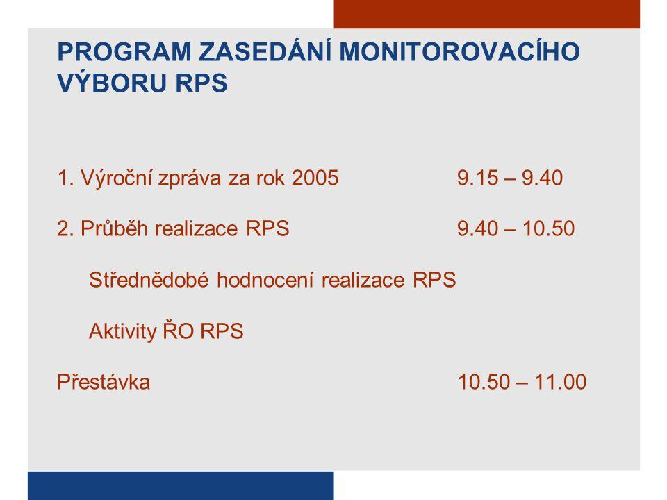 PROGRAM ZASEDÁNÍ MONITOROVACÍHO VÝBORU RPS 1. Výroční zpráva za rok 2005 9.15 – 9.40 2.
