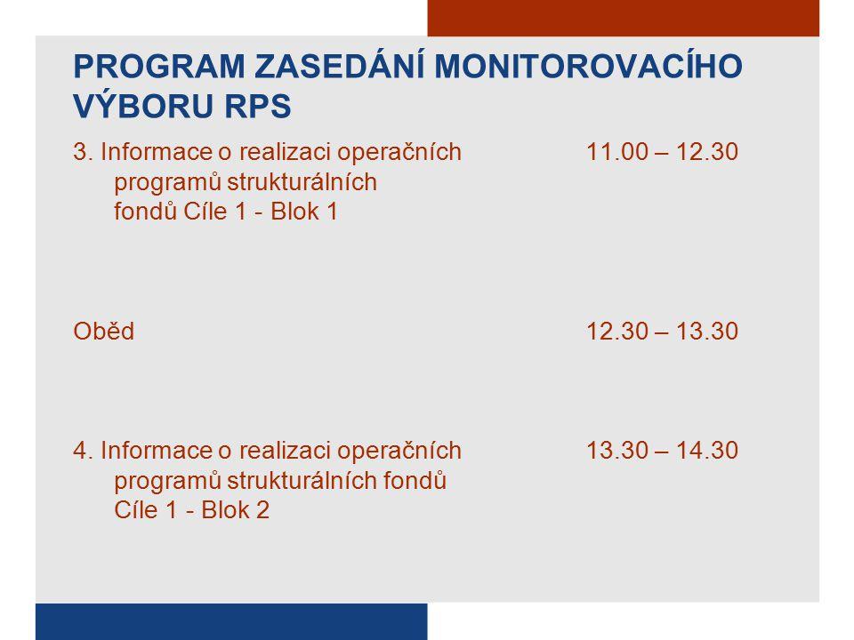 PROGRAM ZASEDÁNÍ MONITOROVACÍHO VÝBORU RPS 3.