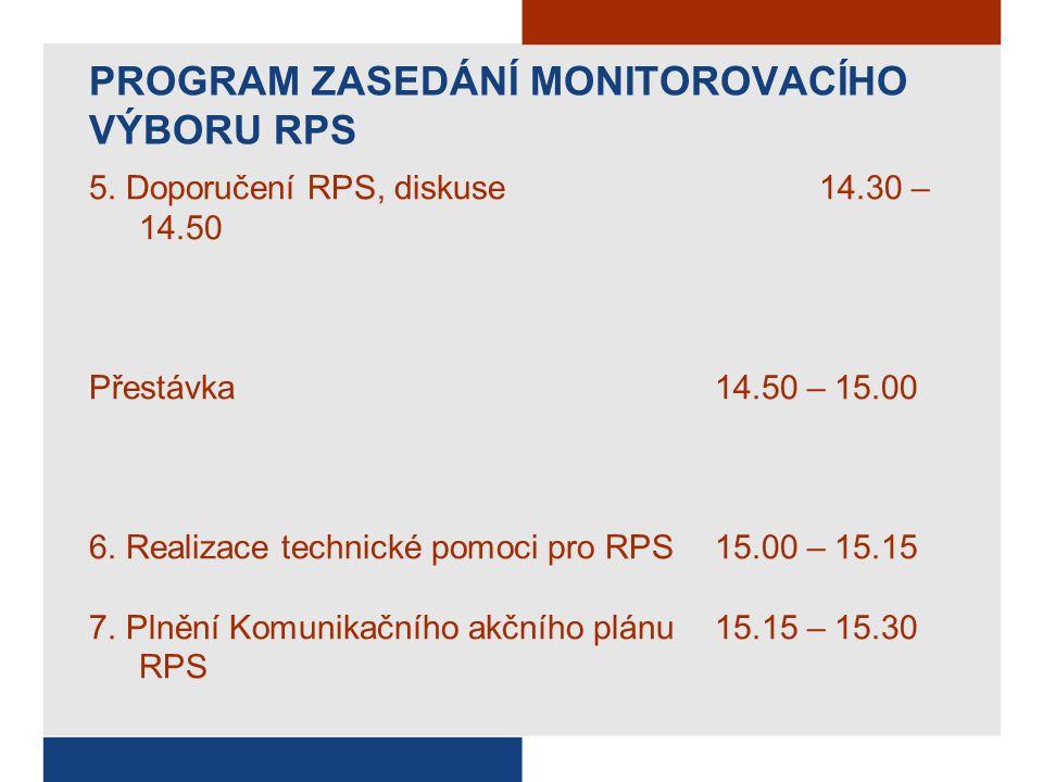 PROGRAM ZASEDÁNÍ MONITOROVACÍHO VÝBORU RPS 5.