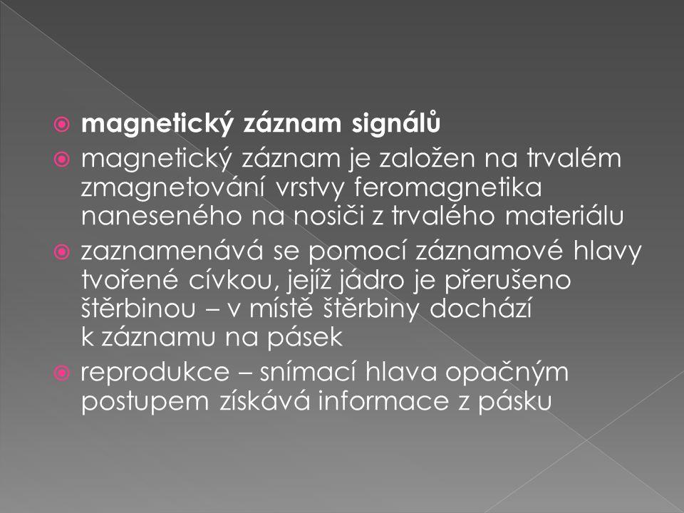  magnetický záznam signálů  magnetický záznam je založen na trvalém zmagnetování vrstvy feromagnetika naneseného na nosiči z trvalého materiálu  za