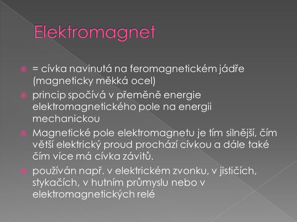  = cívka navinutá na feromagnetickém jádře (magneticky měkká ocel)  princip spočívá v přeměně energie elektromagnetického pole na energii mechanicko