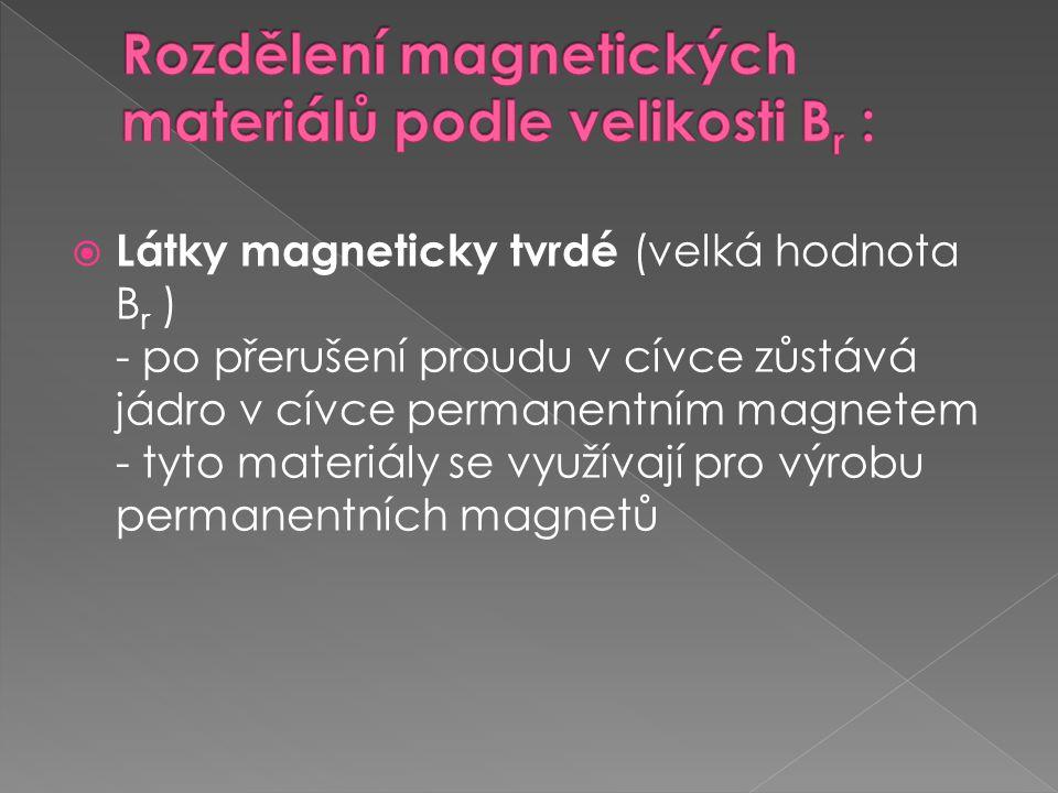  Látky magneticky měkké (malá hodnota B r ) - po přerušení proudu v cívce magnetické pole cívky téměř zaniká - tyto materiály se využívají pro výrobu jader do cívek  používají se v obvodech střídavého proudu (transformátor, motor), aby při přemagnetovávání nedocházelo k velkým ztrátám energie