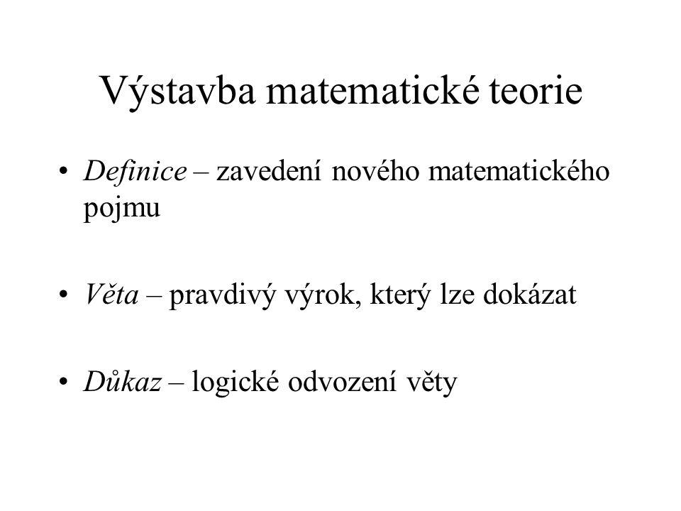 Výstavba matematické teorie Definice – zavedení nového matematického pojmu Věta – pravdivý výrok, který lze dokázat Důkaz – logické odvození věty