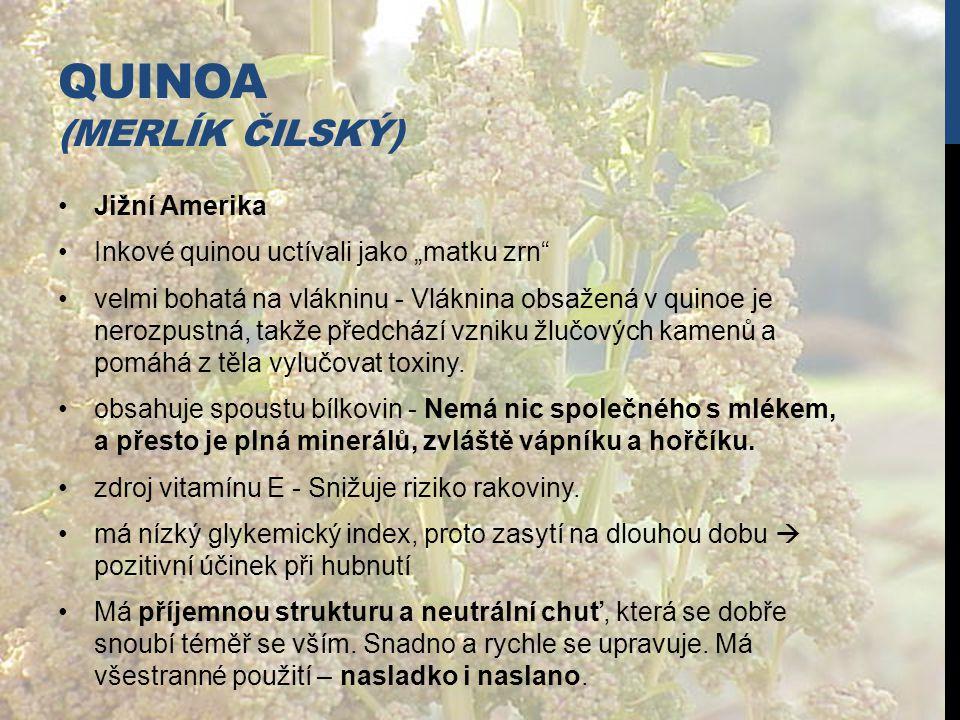 """QUINOA (MERLÍK ČILSKÝ) Jižní Amerika Inkové quinou uctívali jako """"matku zrn"""" velmi bohatá na vlákninu - Vláknina obsažená v quinoe je nerozpustná, tak"""