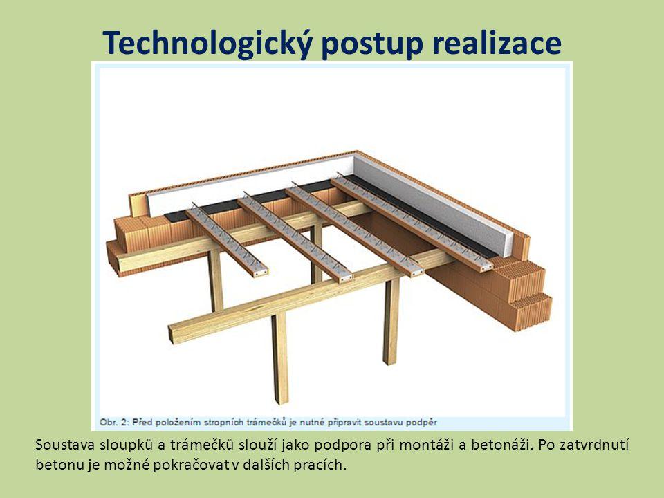 Technologický postup realizace Soustava sloupků a trámečků slouží jako podpora při montáži a betonáži.