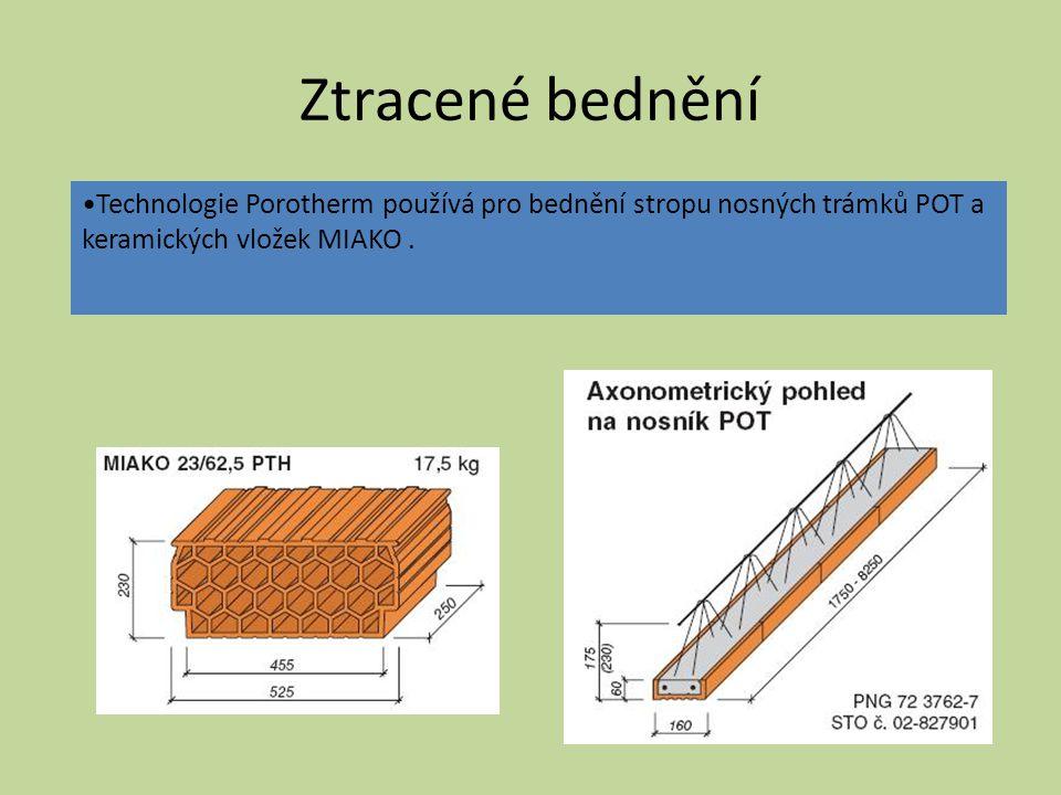 STROPY Z KERAMICKÝCH PREFABRIKÁTŮ POUŽITÍ A VLASTNOSTI použití používají se především pro individuální atypickou výstavbu až do rozpětí 8000 mm vlastnosti možnost volby tlouštěk podle zatížení a rozpětí jsou pevné, trvanlivé a ohnivzdorné, mají výbornou izolační schopnost celokeramický podhled usnadňuje omítání stropů snadná (i ruční) manipulace i montáž