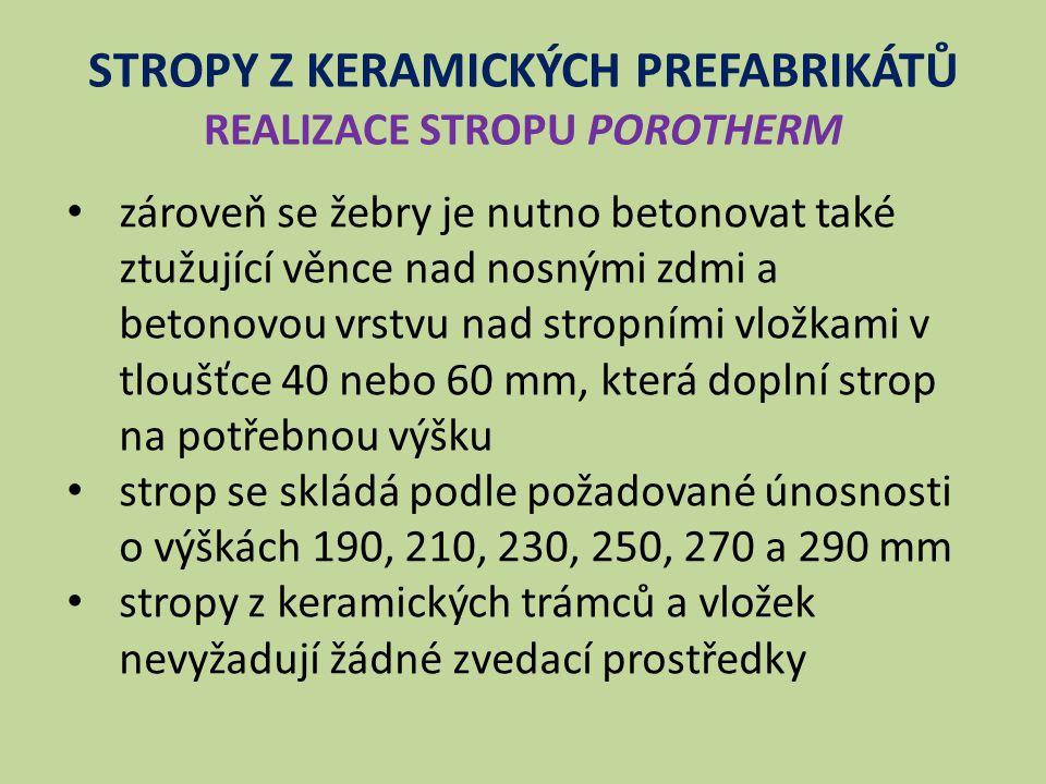 STROPY Z KERAMICKÝCH PREFABRIKÁTŮ REALIZACE STROPU POROTHERM Obr. 2 Schéma montáže stropů - příklad