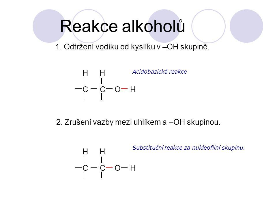 Reakce alkoholů CCOH HH Acidobazická reakce CCOH HH 1.