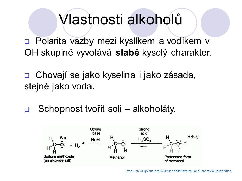 http://en.wikipedia.org/wiki/Alcohol#Physical_and_chemical_properties  Polarita vazby mezi kyslíkem a vodíkem v OH skupině vyvolává slabě kyselý charakter.