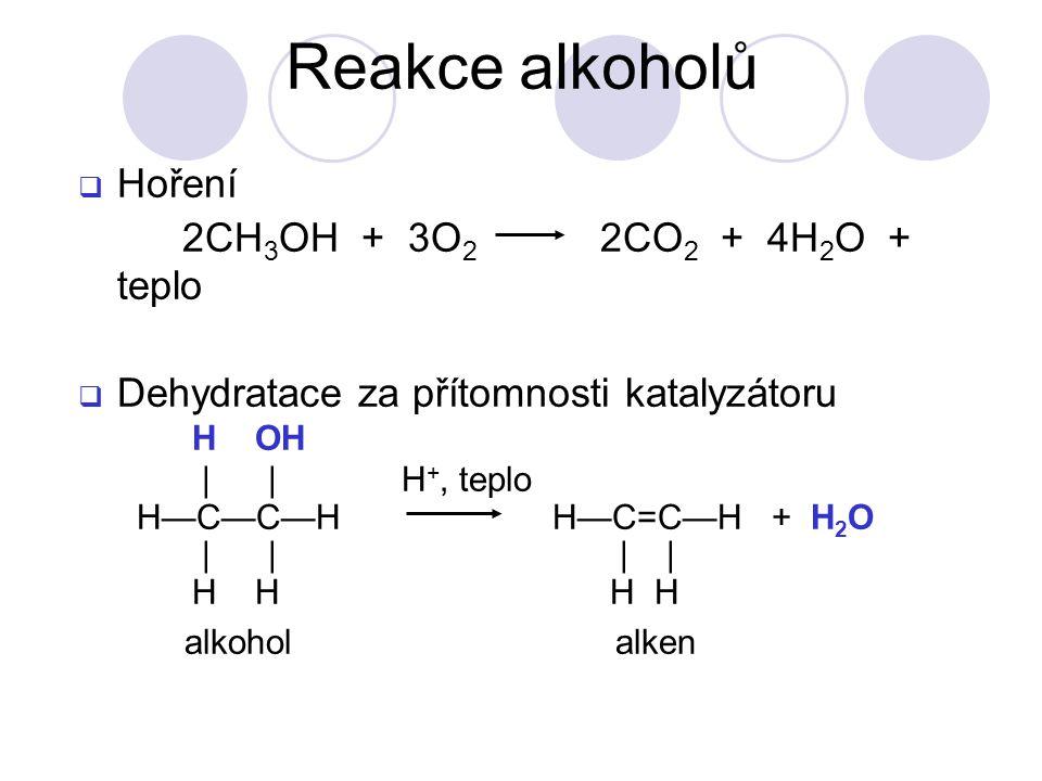  Hoření 2CH 3 OH + 3O 2 2CO 2 + 4H 2 O + teplo  Dehydratace za přítomnosti katalyzátoru H OH | | H +, teplo H—C—C—H H—C=C—H + H 2 O | | | | H H H H alkohol alken Reakce alkoholů