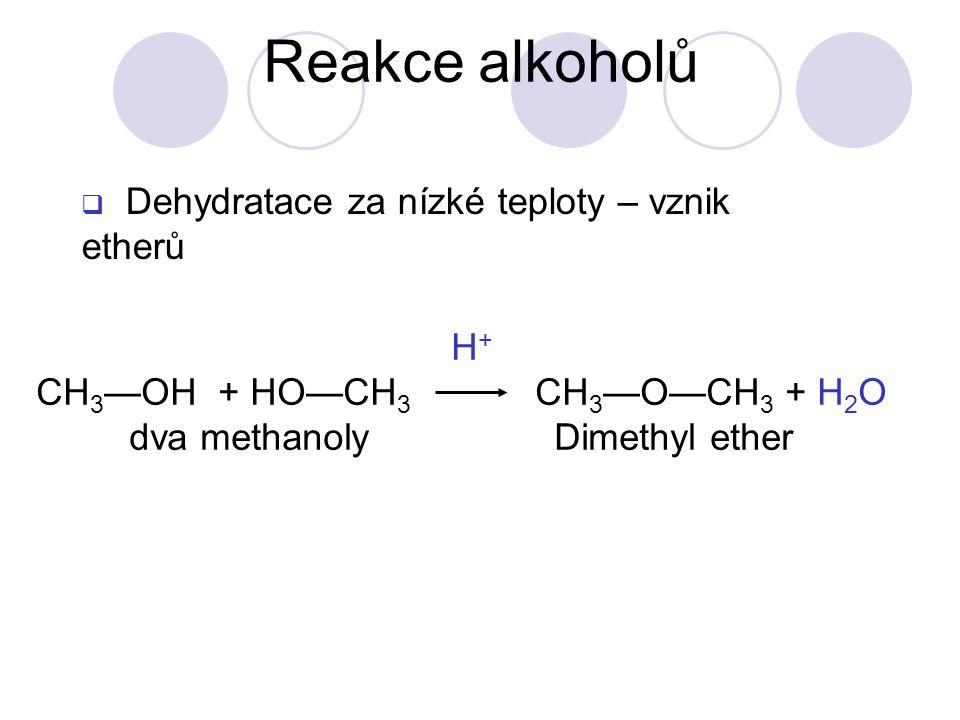 H + CH 3 —OH + HO—CH 3 CH 3 —O—CH 3 + H 2 O dva methanoly Dimethyl ether  Dehydratace za nízké teploty – vznik etherů Reakce alkoholů