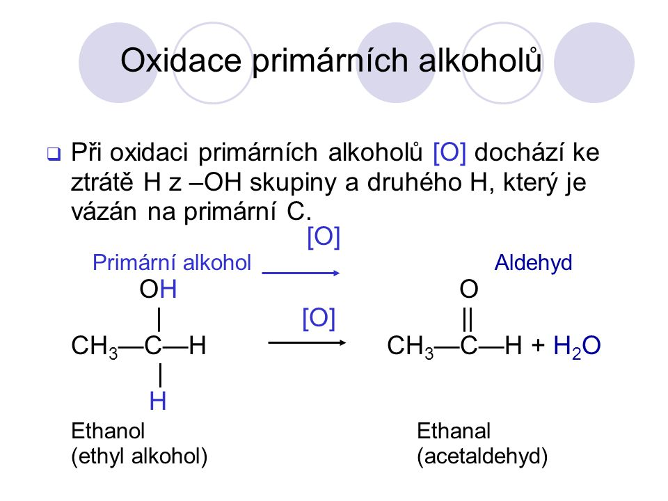  Při oxidaci primárních alkoholů [O] dochází ke ztrátě H z –OH skupiny a druhého H, který je vázán na primární C.