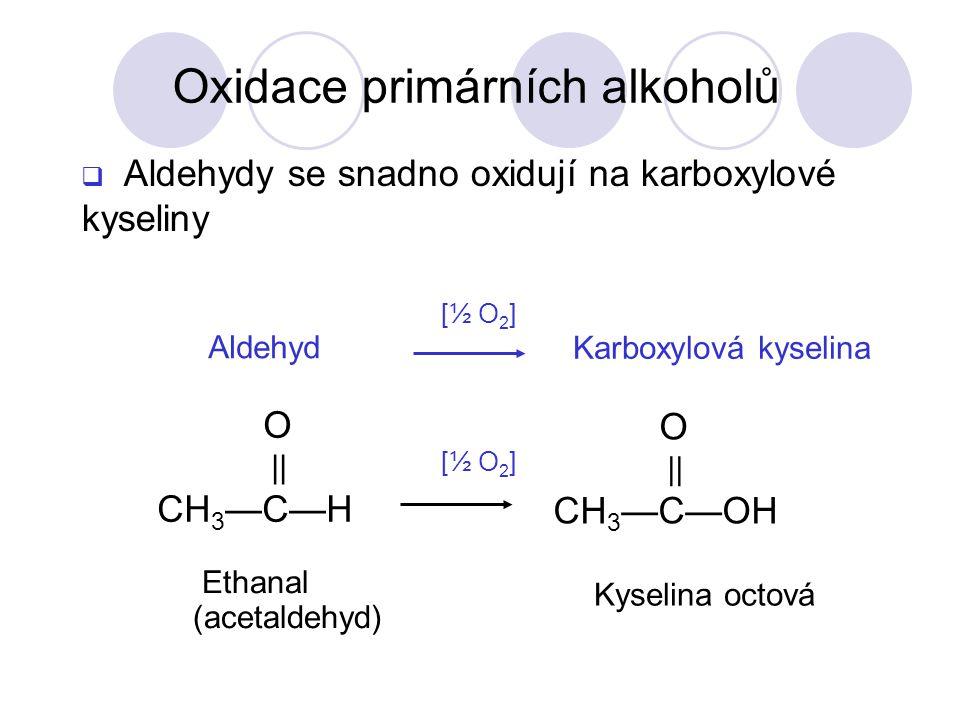 O || CH 3 —C—H O || CH 3 —C—OH Aldehyd Karboxylová kyselina [½ O 2 ] Ethanal (acetaldehyd) Kyselina octová  Aldehydy se snadno oxidují na karboxylové kyseliny Oxidace primárních alkoholů