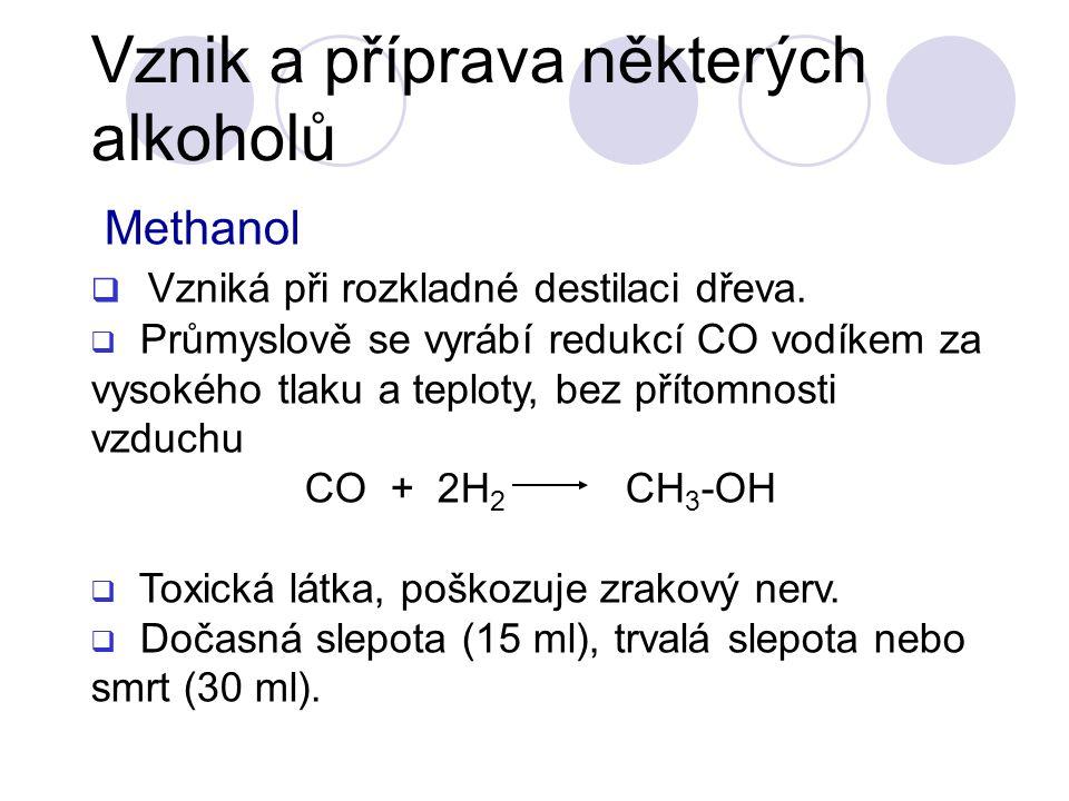 Methanol  Vzniká při rozkladné destilaci dřeva.