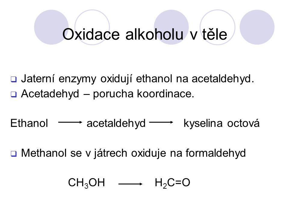  Jaterní enzymy oxidují ethanol na acetaldehyd. Acetadehyd – porucha koordinace.
