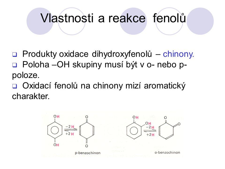 Produkty oxidace dihydroxyfenolů – chinony. Poloha –OH skupiny musí být v o- nebo p- poloze.