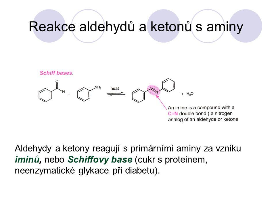 Reakce aldehydů a ketonů s aminy Aldehydy a ketony reagují s primárními aminy za vzniku iminů, nebo Schiffovy base (cukr s proteinem, neenzymatické glykace při diabetu).
