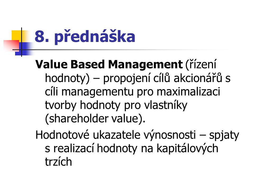 EVA – Economic Value Added Jedná se o myšlenku tzv.
