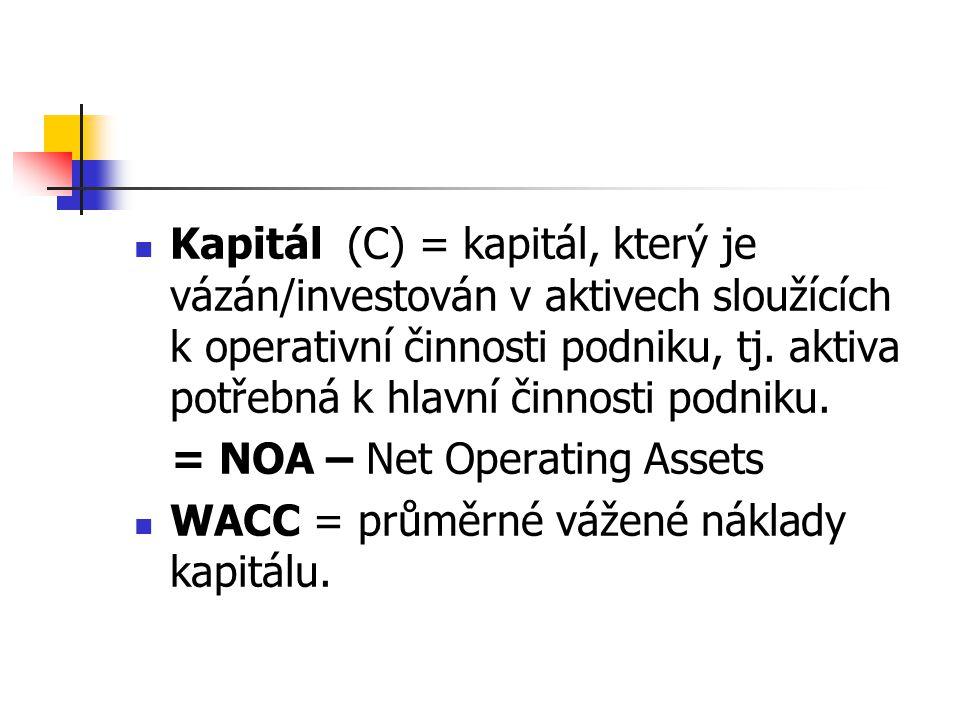 Kapitál (C) = kapitál, který je vázán/investován v aktivech sloužících k operativní činnosti podniku, tj. aktiva potřebná k hlavní činnosti podniku. =