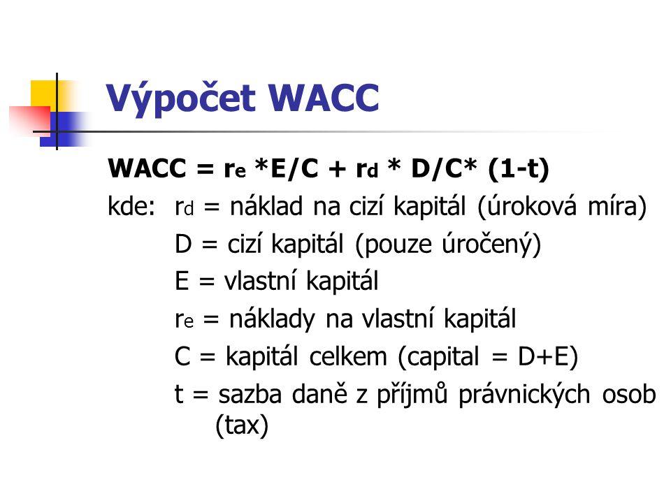 Výpočet WACC WACC = r e *E/C + r d * D/C* (1-t) kde:r d = náklad na cizí kapitál (úroková míra) D = cizí kapitál (pouze úročený) E = vlastní kapitál r