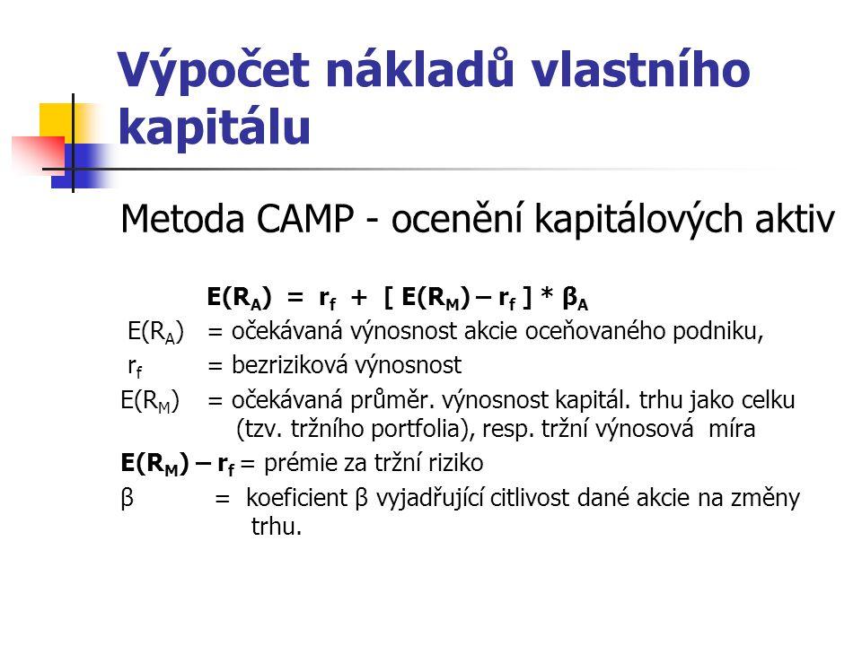Výpočet nákladů vlastního kapitálu Metoda CAMP - ocenění kapitálových aktiv E(R A ) = r f + [ E(R M ) – r f ] * β A E(R A )= očekávaná výnosnost akcie