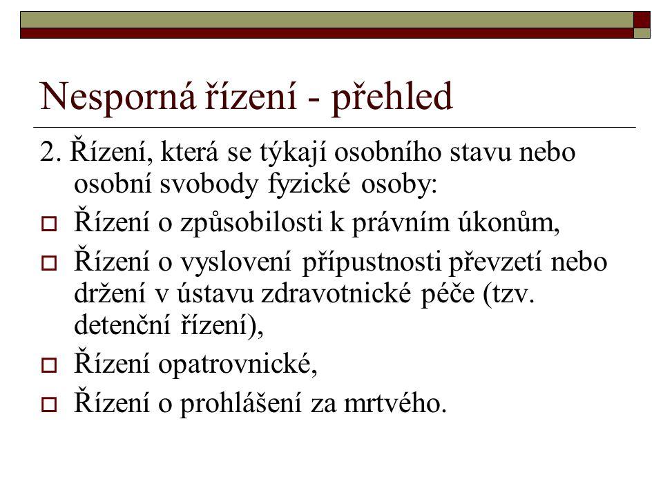 Nesporná řízení - přehled 2. Řízení, která se týkají osobního stavu nebo osobní svobody fyzické osoby:  Řízení o způsobilosti k právním úkonům,  Říz