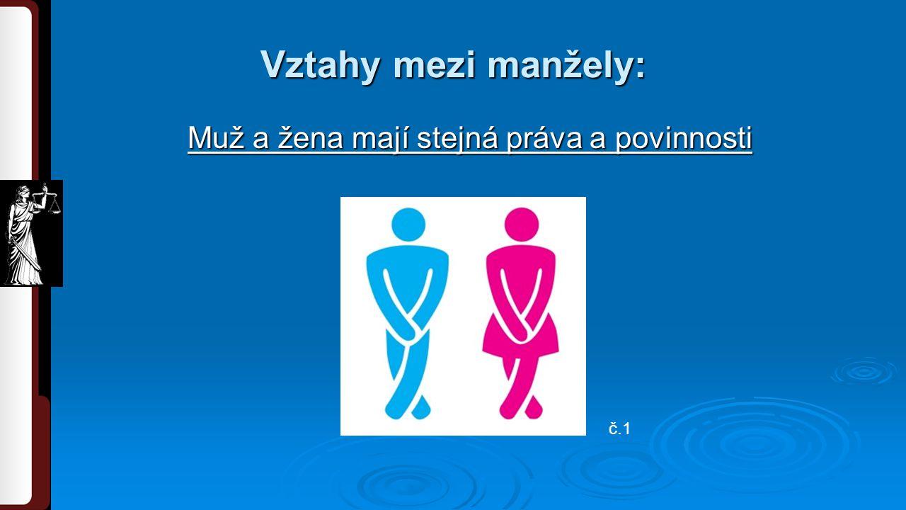 Vztahy mezi manžely: Muž a žena mají stejná práva a povinnosti č.1
