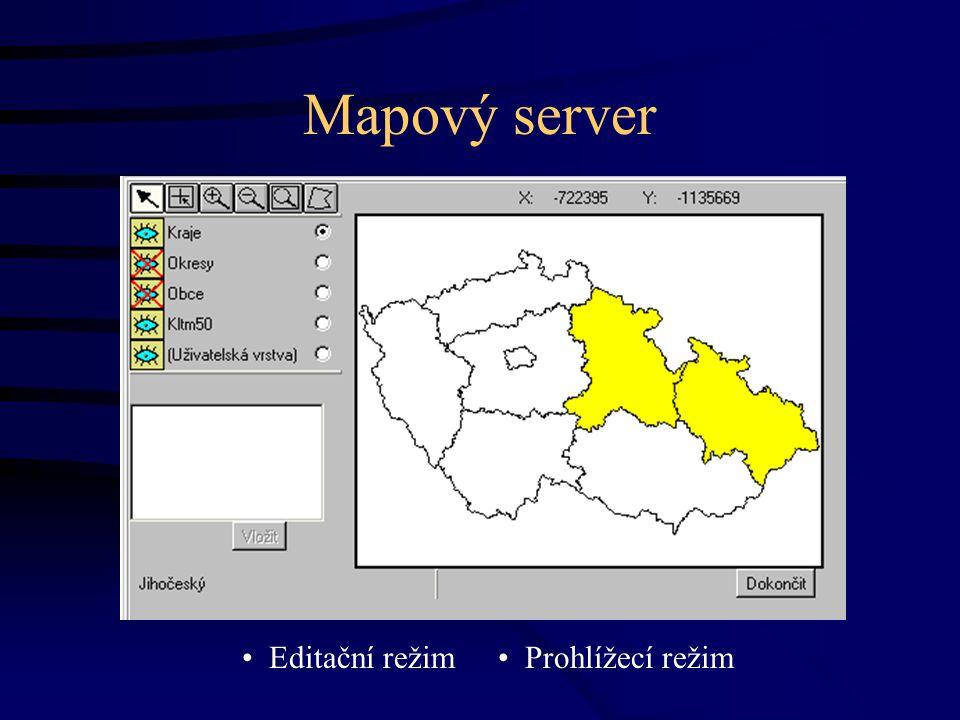 Mapový server Editační režim Prohlížecí režim
