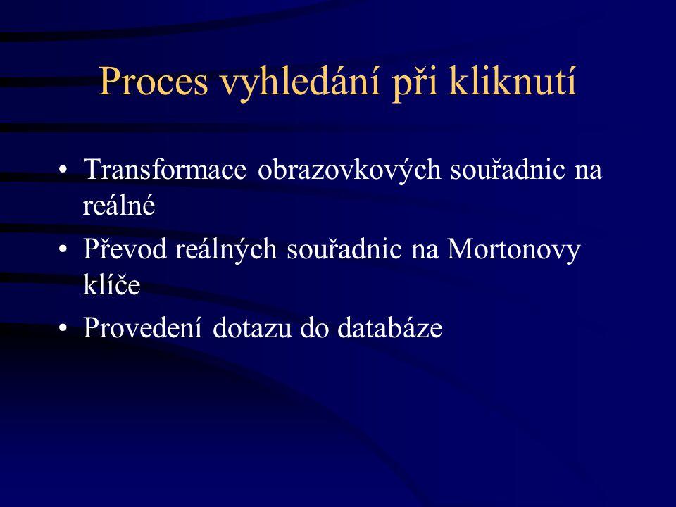 Proces vyhledání při kliknutí Transformace obrazovkových souřadnic na reálné Převod reálných souřadnic na Mortonovy klíče Provedení dotazu do databáze