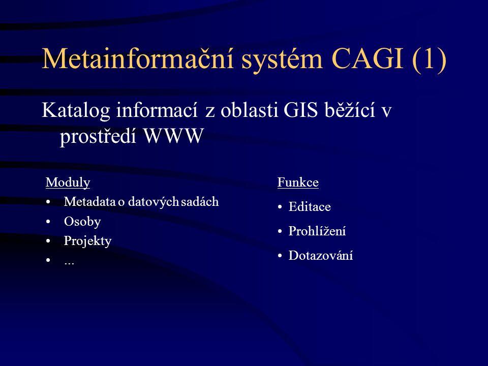 Metainformační systém CAGI (1) Katalog informací z oblasti GIS běžící v prostředí WWW Moduly Metadata o datových sadách Osoby Projekty...