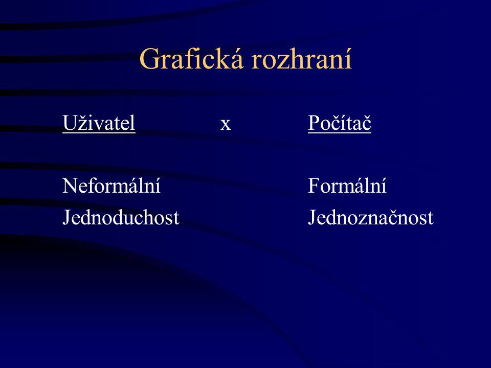 Grafická rozhraní Uživatel xPočítač Neformální Formální JednoduchostJednoznačnost