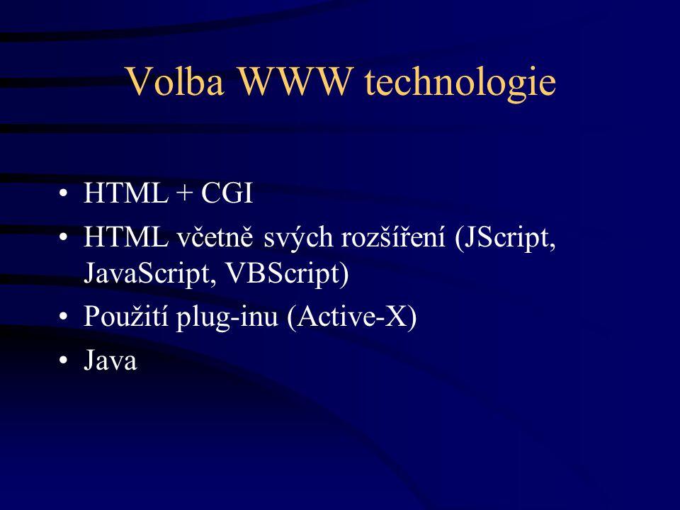 Volba WWW technologie HTML + CGI HTML včetně svých rozšíření (JScript, JavaScript, VBScript) Použití plug-inu (Active-X) Java