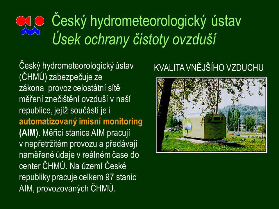 Český hydrometeorologický ústav Úsek ochrany čistoty ovzduší Český hydrometeorologický ústav (ČHMÚ) zabezpečuje ze zákona provoz celostátní sítě měření znečištění ovzduší v naší republice, jejíž součástí je i automatizovaný imisní monitoring (AIM).