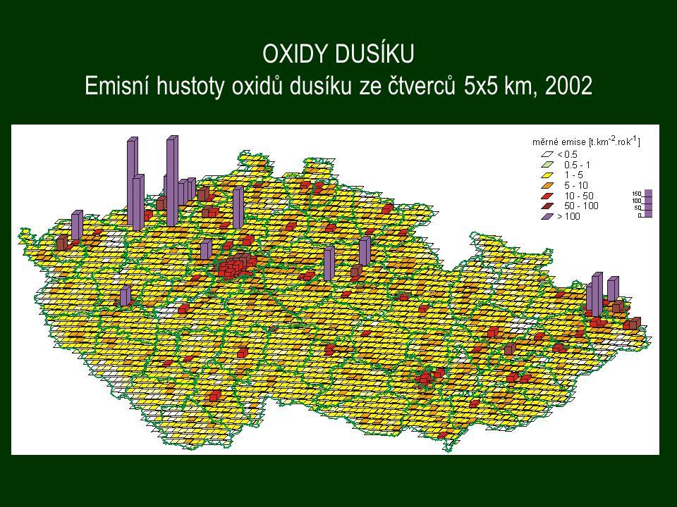 OXIDY DUSÍKU Emisní hustoty oxidů dusíku ze čtverců 5x5 km, 2002
