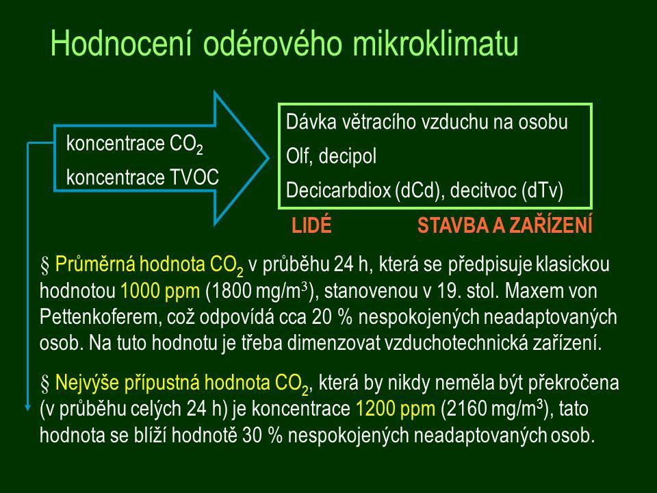 Hodnocení odérového mikroklimatu Dávka větracího vzduchu na osobu Olf, decipol Decicarbdiox (dCd), decitvoc (dTv) § Průměrná hodnota CO 2 v průběhu 24 h, která se předpisuje klasickou hodnotou 1000 ppm (1800 mg/m 3 ), stanovenou v 19.