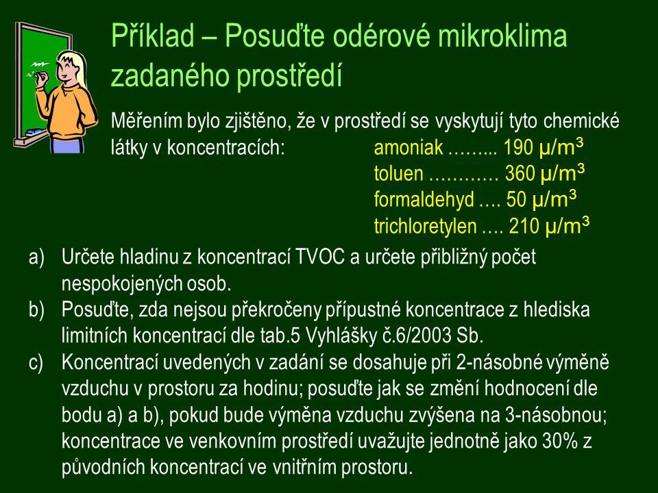 Příklad – Posuďte odérové mikroklima zadaného prostředí Měřením bylo zjištěno, že v prostředí se vyskytují tyto chemické látky v koncentracích:amoniak ……...
